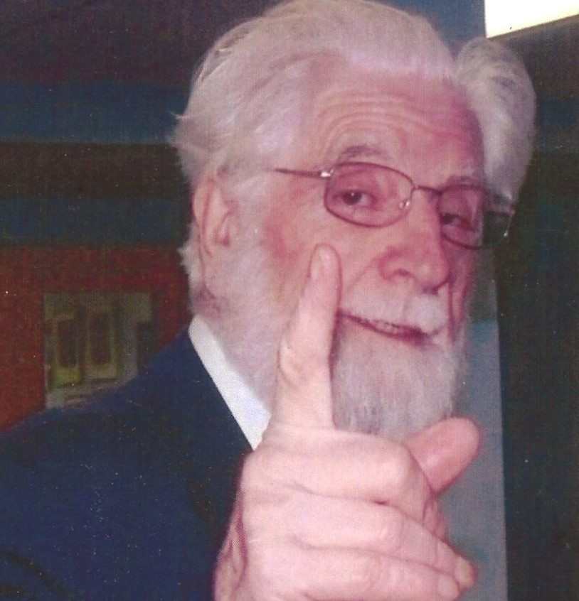 photo of author's father wagging his finger