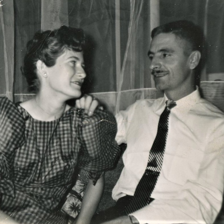 image of the author's parents as newlyweds